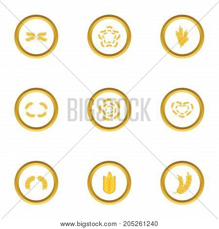 Cereal grain icons set. Cartoon style set of 9 cereal grain vector icons for web design
