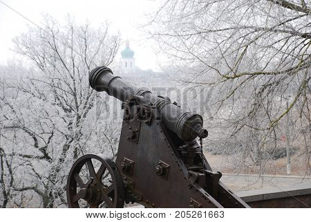 war cannon of the old times in Chernigov country ukraine