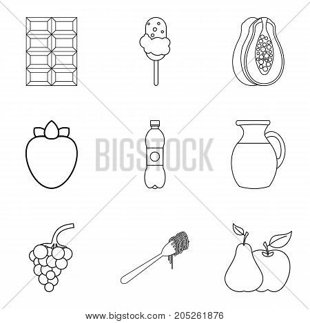 Sweet snack icons set. Outline set of 9 sweet snack vector icons for web isolated on white background