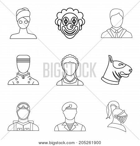 Theatrical character icons set. Outline set of 9 theatrical character vector icons for web isolated on white background