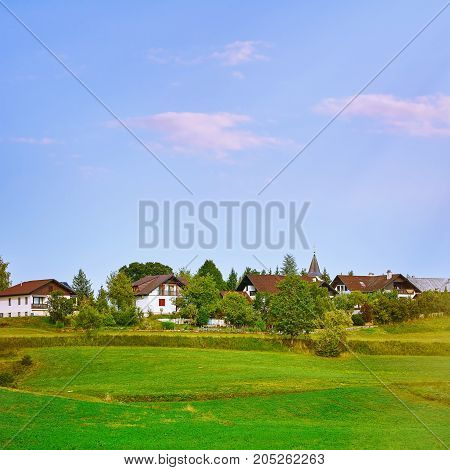 Row of Houses of Small Town in Slovenia