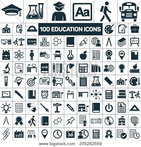 Education School Graduation Icons Set On White Background