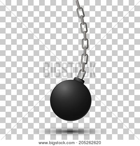 Wrecking ball. Demolition sphere hanging on chains. Vector illustration on transparency background