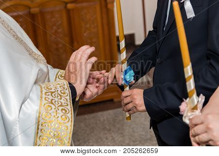 Wedding ceremony in orthodox church wedding rings exchange