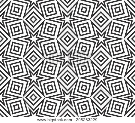 Muslim geometric ornament seamless texture with star and square shapes