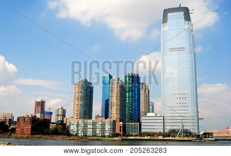 High-rise buildings housing condominiums and offices in Jersey City, New Jersey, USA.