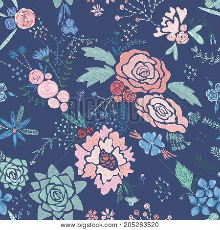 Seamless texture with stitch imitation botanical elements on blue background