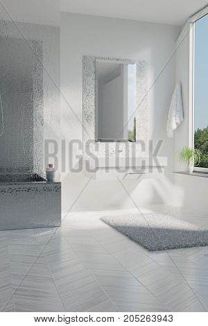 3d rendering of luxury white bathroom with mosaic tiles