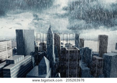 3d rendering of cityscape with high building in front of stormy clouds