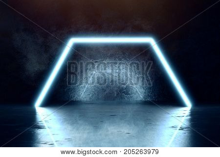 3d rendering of blue light hexagon and grunge wall background