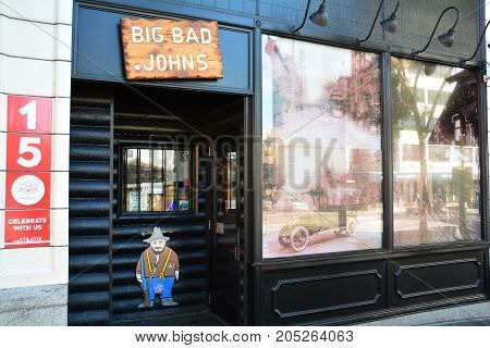 Victoria BC,Canada,September 22nd 2017.The world famous iconic Big Bad Johns lounge located in the Strathcona Hotel in Victoria BC.Come to Big Bad's and have fun.