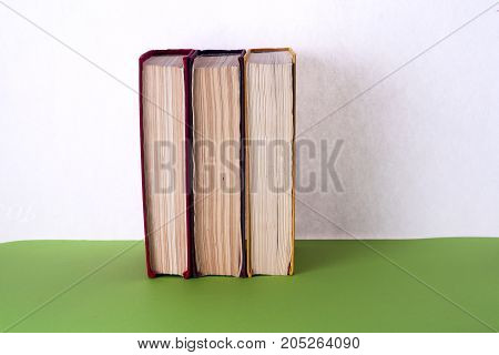 Set of books in the library. Knowledge, Science. Toned image