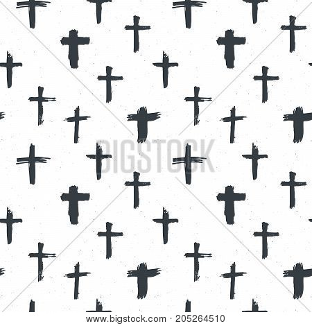 Cross symbols seamless pattern grunge hand drawn Christian crosses religious signs icons crucifix symbol vector illustration .