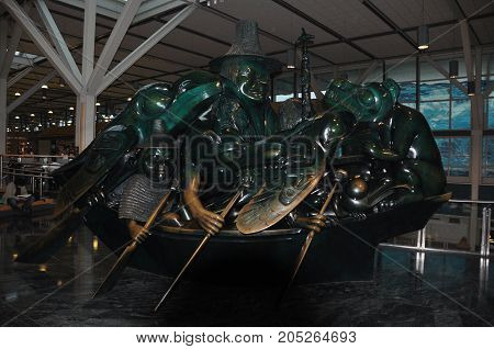 Vancouver BC,Canada,October 11th 2010.The Jade Canoe sculpture by legendary Native artist Bill Reid can be seen at the Vancouver International airport or YVR.