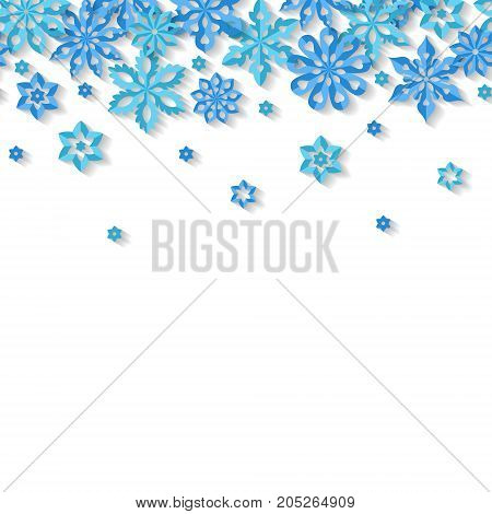 Seamless border snowflakes isolated on white background. Site header. Art vector illustration.
