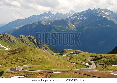 View over Grossglockner High Alpine Road in Austria from Hochtor mountain, 2504m.