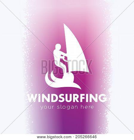 Windsurfing logo, windsurfer icon, sign, man on surfboard with sail, vector illustration