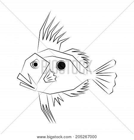 John Dory Fish. Vector Illustration Of A John Dory or Saint Pierre Fish or Saint Peter Fish or Zeus faber.