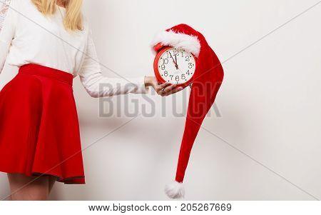 Woman With Alarm Clock. Christmas Time.