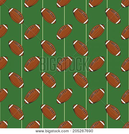 Football rugby ball seamless pattern hand drawn sketch vector illustration.