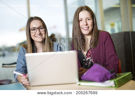 Two pretty female college student studying in the university library