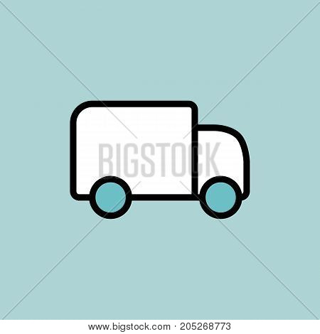 Delivery Truck Icon On Blue Background