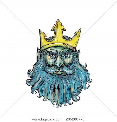 Woodcut style illustration of head of Neptune Poseidon or Triton wearing a trident crown with flowing beard front view on isolated background.