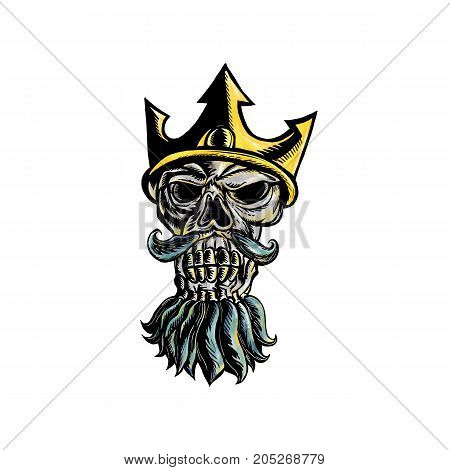 Woodcut style illustration of skull head of Neptune Poseidon or Triton wearing a trident crown with flowing beard front view on isolated background.