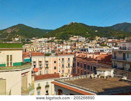 View of Salerno with Castello di Arechi castle in background. Salerno. Campania Italy.