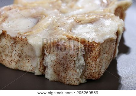 Cinnamon rolls baked fresh with icing added ready to eat