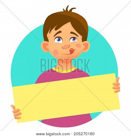 Boy holding blank poster. Blank message vector illustration. Hands holding blank paper