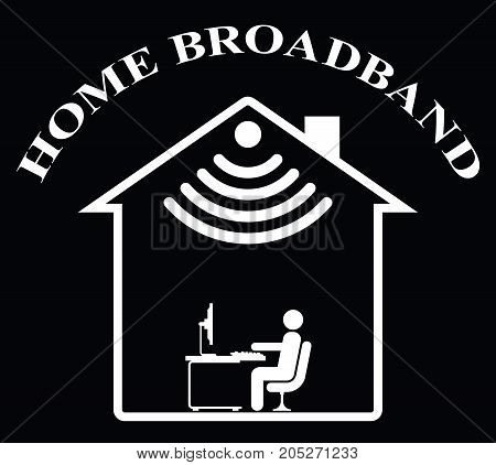 Representation of home WIFI isolated on black background