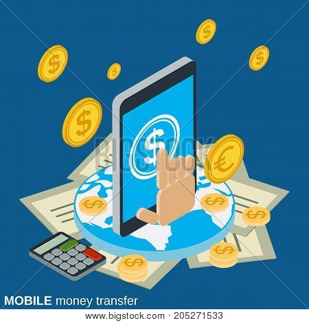 Mobile money transfer, payment, online banking, financial transaction vector concept