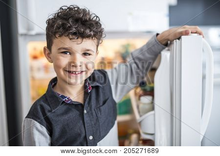 A Young white boy standing in front of open refrigerator.