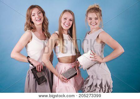 Elegant Women Holding Hand Purse Wallet
