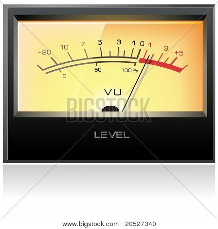 Analog electronic VU meter with yellow display, detailed vector poster