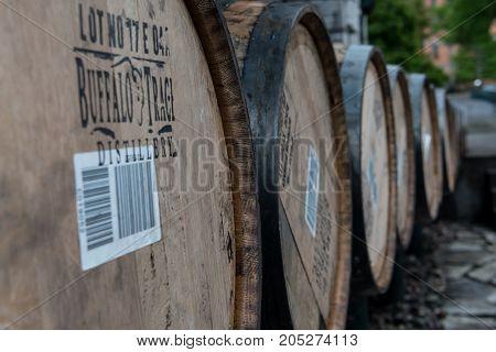 Frankfurt United States: May 4 2017: Line of Barrels at Buffalo Trace Distillery