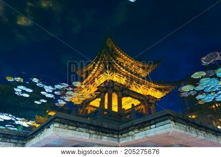 Lijiang Artistic Chinese Pagoda Water Reflection