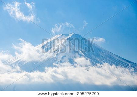 Mount Fuji and snow on peak at Kawaguchiko lake, Japan