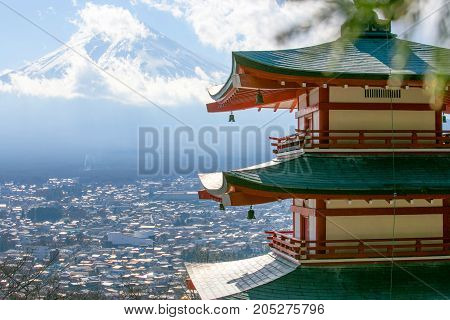 View of Mount Fuji from the red pagoda or Chureito Pagoda, Fujiyoshida Japan