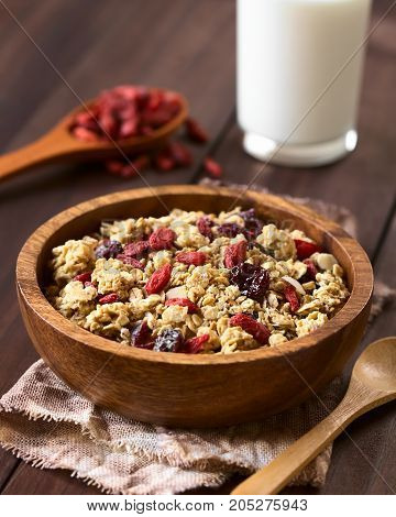 Crunchy oatmeal cereal with almond and dried goji berries and cranberries in wooden bowl photographed with natural light (Selective Focus Focus in the middle of the bowl)