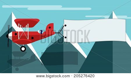 red plain with banner in the mountains