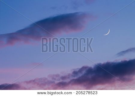 Silver Moon At Twilight With Purple Sky