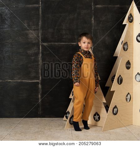 The Little Boy Next To Decorative Christmas Trees