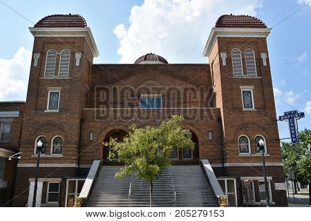 BIRMINGHAM, AL - JUL 23: 16th St Baptist Church in Birmingham, Alabama, as seen on July 23, 2017. Now a National Historic Landmark, the church is known for the tragic racially motivated bombing in 1963.