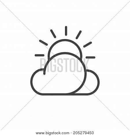 Partly cloudy day line icon, outline vector sign, linear style pictogram isolated on white. Symbol, logo illustration. Editable stroke