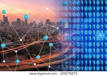 Smart City With Wifi Connection Showing Smart Technology Of Internet Of Things For Global Business C