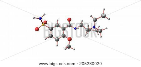 Sulpiride Molecular Structure Isolated On White