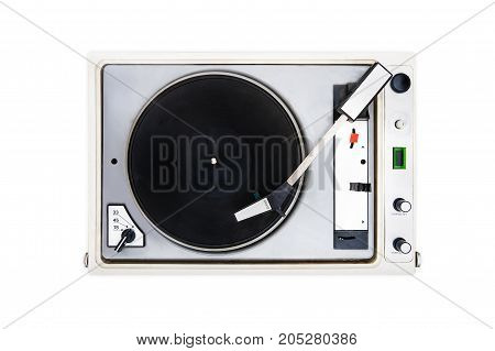 The old Soviet vinyl player on white isolated background. turntable