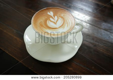 hot coffee hot latte with latte art